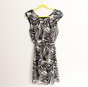 Amanda Lane Black & White Sleeveless Print Dress